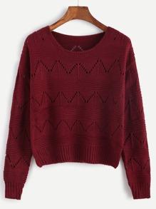 Burgundy Drop Shoulder Eyelet Sweater