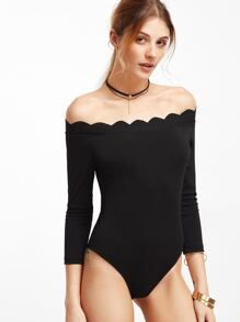 Black Scallop Off The Shoulder Bodysuit