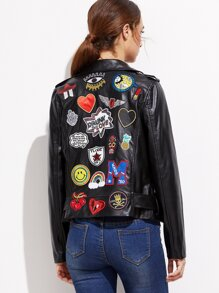 Black Embroidery Patch Moto Jacket With Buckle Detail