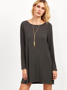 Heather Grey Tee Dress With Elbow Patch Detail