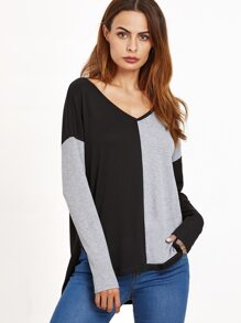 Color Block Drop Shoulder High Low T-shirt