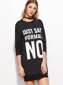 Black Letter Print Drop Shoulder Sweatshirt Dress