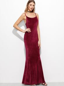 Burgundy Spaghetti Strap Corduroy Maxi Dress