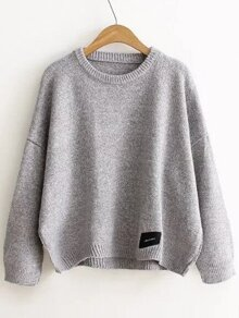 Light Grey Patch Detail Drop Shoulder Sweater