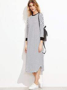 White Striped Contrast Trim Drop Shoulder Tee Dress