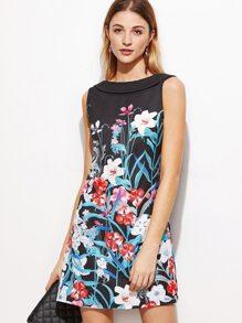 Black Flower Print Shawl Collar V Back Dress