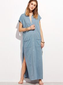 Heather Blue Raw Edge Side Slit Button Up Dress