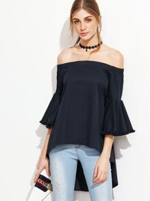 Navy Off The Shoulder Bell Sleeve High Low Top