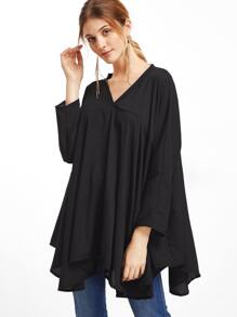 Black V Neck Asymmetric Hem Blouse