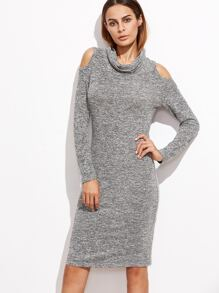 Grey Marled Knit Cowl Neck Open Shoulder Dress