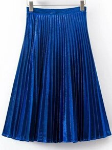 Blue Pleated A Line Midi Skirt