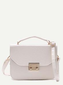 White Pebbled PU Box Handbag With Strap