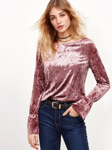 Pink Bell Cuff Crushed Velvet Top