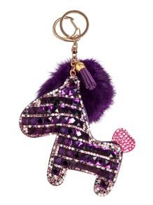Dark Purple Crystal Pony Keychain With Pom Pom