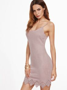 Pink Faux Suede Crisscross Back Laser Cutout Cami Dress