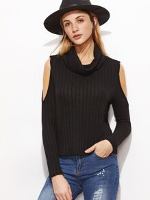 Black Ribbed Knit Cowl Neck Open Shoulder T-shirt