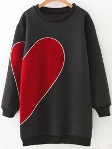 Black Heart Pattern Ribbed Trim Sweatshirt Dress