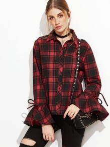 Red Plaid Bow Tie Bell Sleeve Blouse