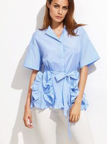 Blue Pinstripe Belted Blouse With Frill Detail