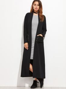 Black Shawl Collar Pleated Pocket Duster Coat