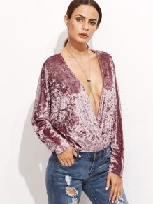 Pink Surplice Front Dolman Sleeve Velvet Bodysuit
