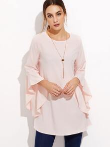 Pink Bell Sleeve Long Blouse