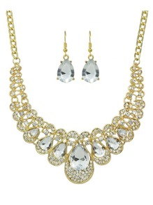 White New Coming Rhinestone Statement Jewelry Set