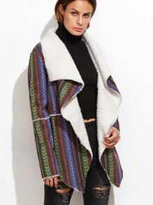 Multicolor Striped Waterfall Embroidered Faux Shearling Jacket