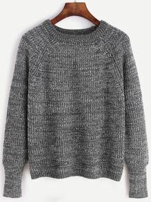 Grey Raglan Sleeve Marled Knit Sweater