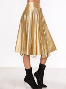 Gold Faux Leather Fringe Midi Skirt