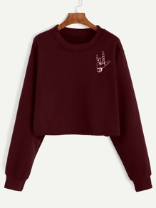 Burgundy Love Gesture Print Crop Sweatshirt
