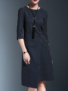 Navy Crew Neck Asymmetric Dress