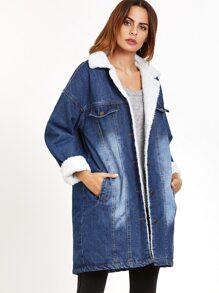 Blue Single Breasted Faux Shearling Lined Jacket