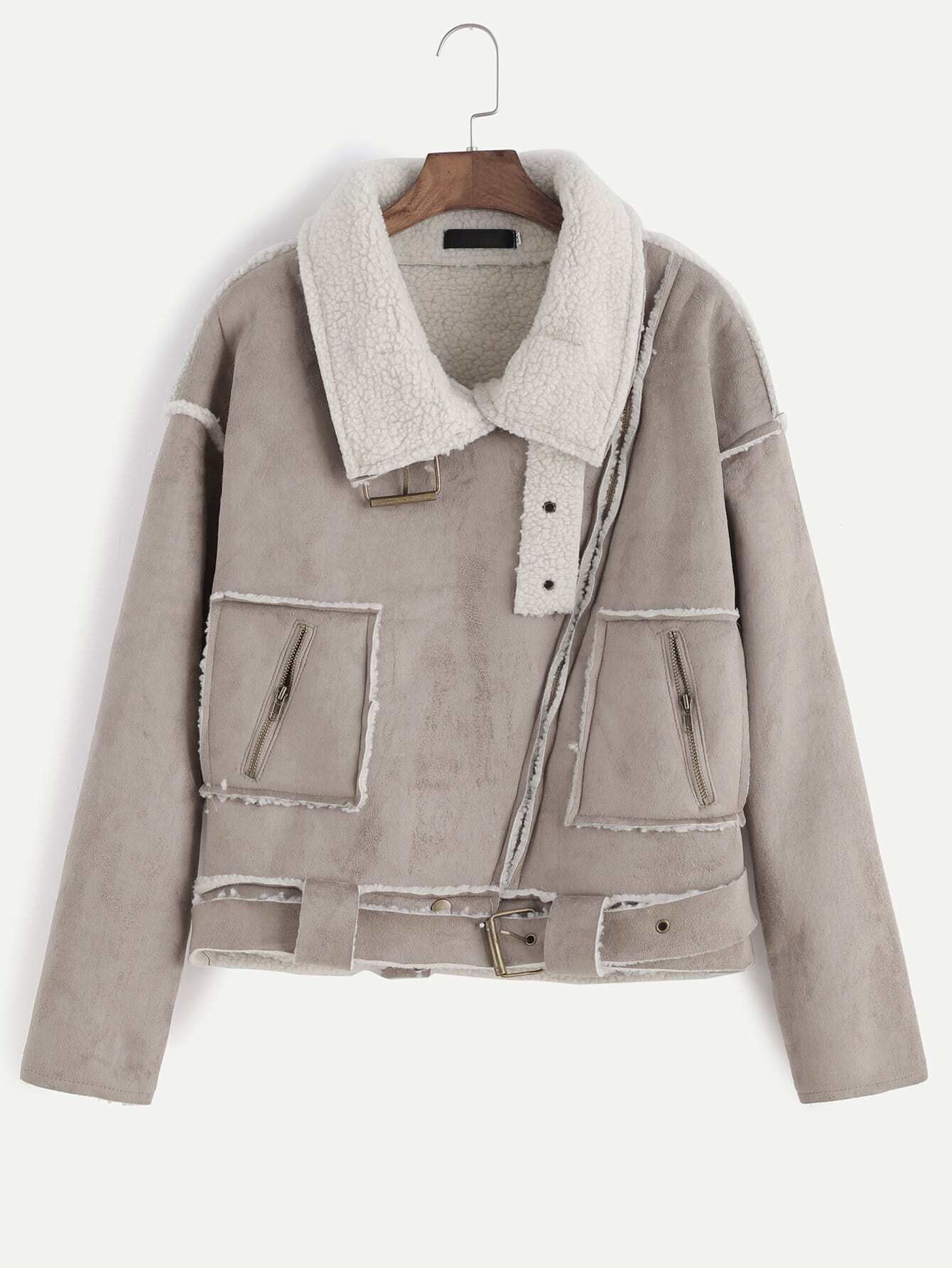 Apricot Oblique Zipper Faux Shearling Lined Coat With Buckle ...