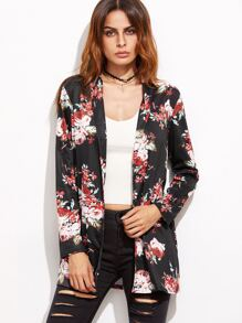 Black Floral Print Shawl Collar Coat