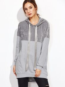 Color Block Drawstring Hooded Long Sweatshirt