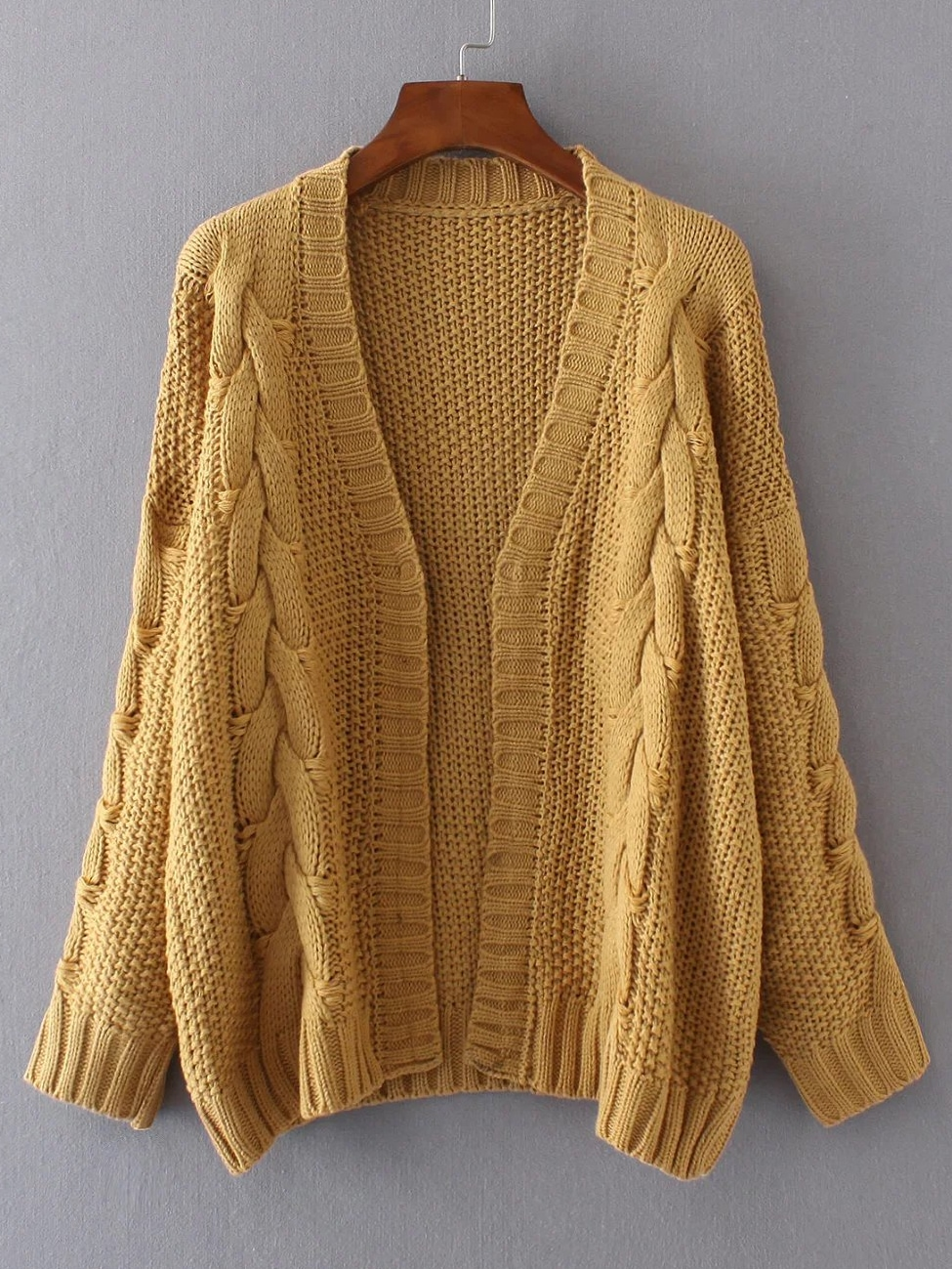 Ginger Cable Knit Open Front Cardigan EmmaCloth-Women Fast Fashion ...
