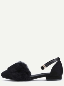 Black Faux Suede Ankle Strap Fur Trim Sandals
