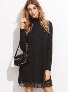 Black High Neck Lace Hem Shift Dress