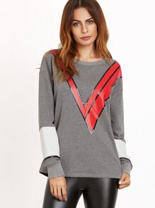 Color Block V Print Drop Shoulder Sweatshirt