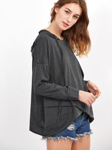 Heather Grey Drop Shoulder Crossover Hoodie