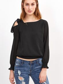 Black Tie Shoulder Shirred Cuff Chiffon Top