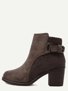 Brown PU Snakeskin Trim Distressed Cork Heel Short Boots