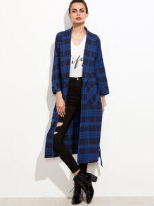 Blue Plaid Shawl Collar Pocket Front Wrap Coat