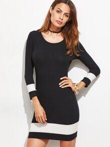 Black Contrast Panel Ribbed Bodycon Dress