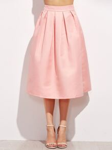 Pink Zipper Side Flare Skirt