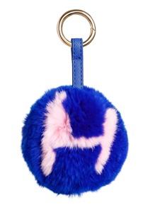 Blue Pom Pom Letter Pattern Keychain