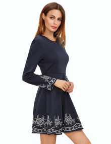 Royal Blue Embroidered Long Sleeve Flare Dress