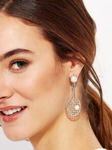 Silver Faux Pearl Tennis Racket Design Drop Earrings