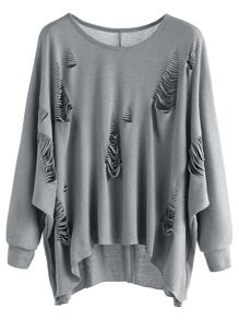 Grey Dip Hem Ripped T-shirt
